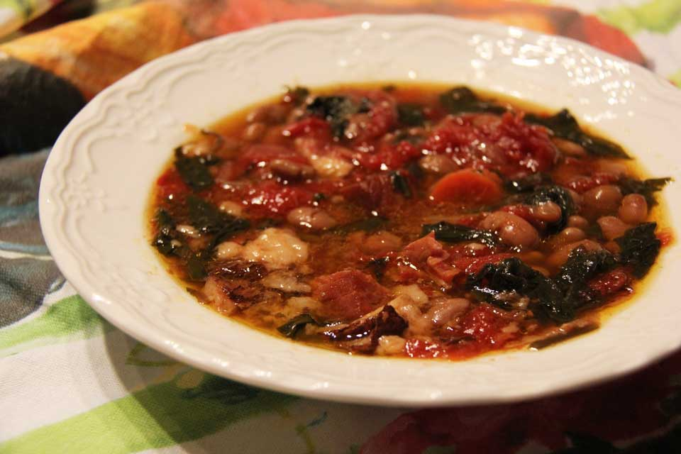 Ham and bean soup with dandelion greens