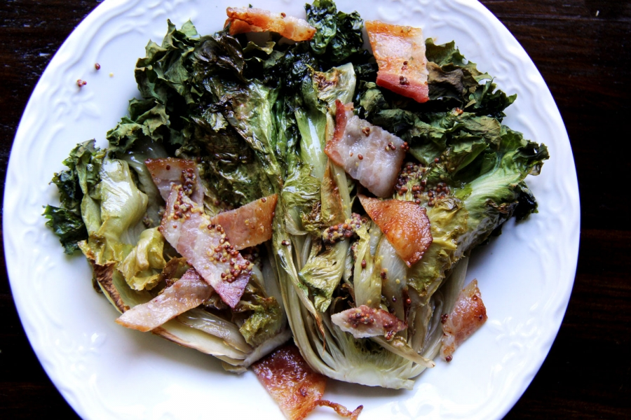 braised escarole with mustard and bacon recipe